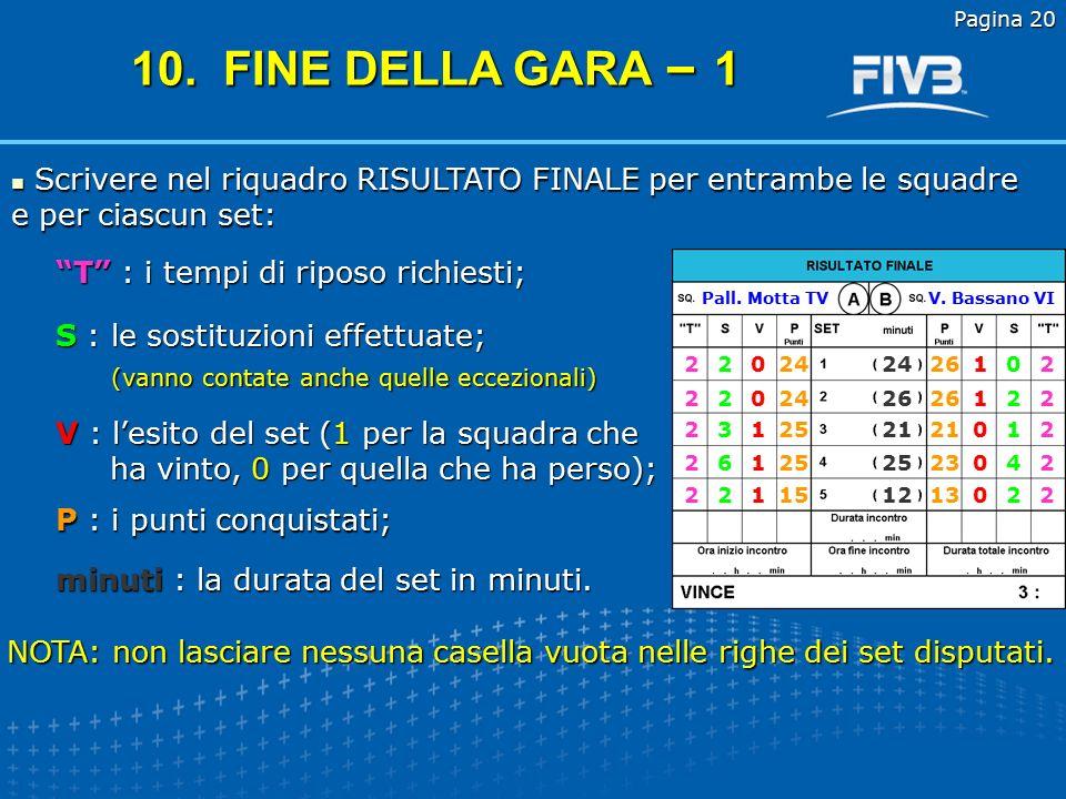 Pagina 20 10. FINE DELLA GARA – 1. Scrivere nel riquadro RISULTATO FINALE per entrambe le squadre e per ciascun set: