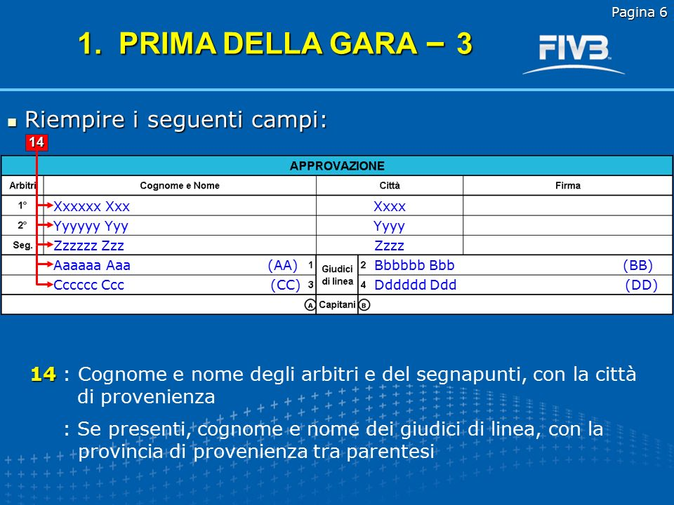 1. PRIMA DELLA GARA – 3 Riempire i seguenti campi: