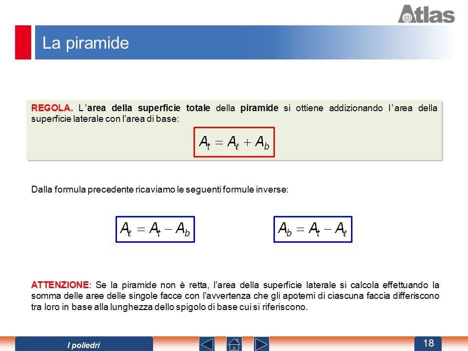 La piramide REGOLA. L'area della superficie totale della piramide si ottiene addizionando l'area della superficie laterale con l'area di base: