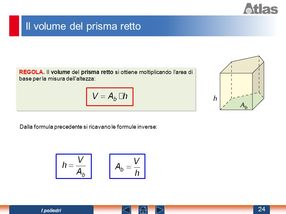 Il volume del prisma retto