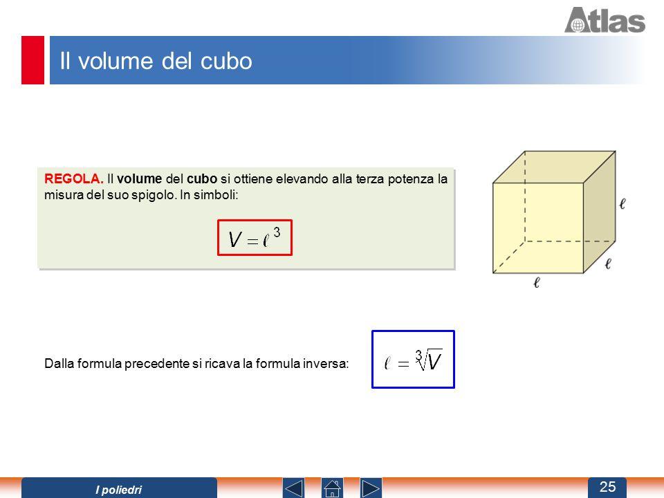 Il volume del cubo REGOLA. Il volume del cubo si ottiene elevando alla terza potenza la misura del suo spigolo. In simboli: