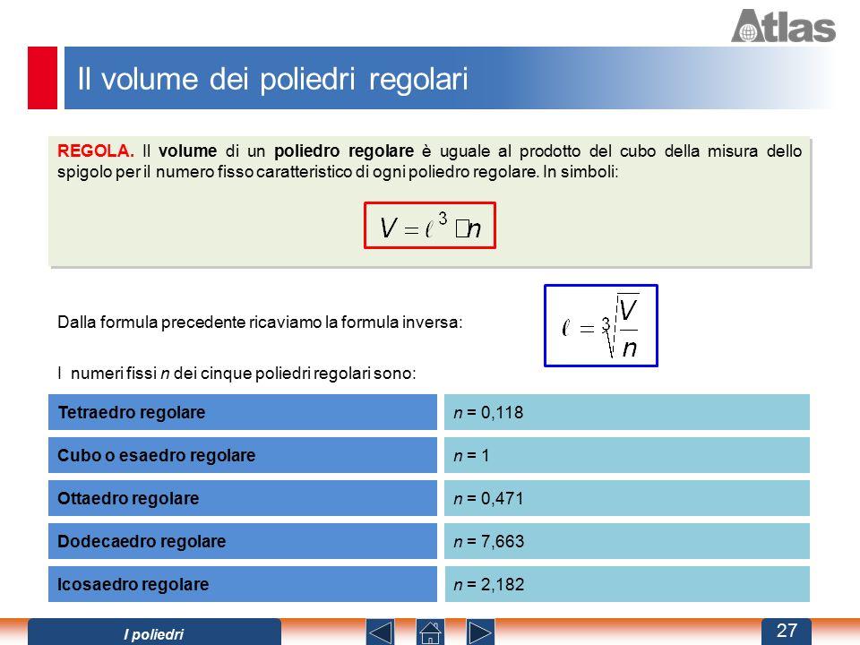 Il volume dei poliedri regolari
