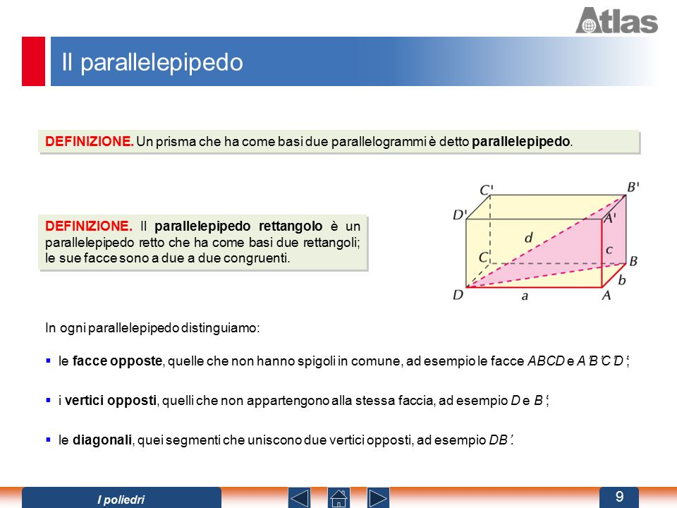Il parallelepipedo DEFINIZIONE. Un prisma che ha come basi due parallelogrammi è detto parallelepipedo.