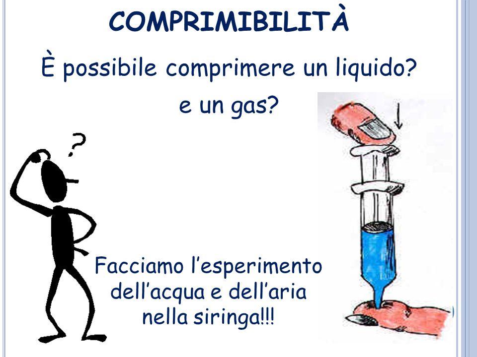 COMPRIMIBILITÀ È possibile comprimere un liquido e un gas