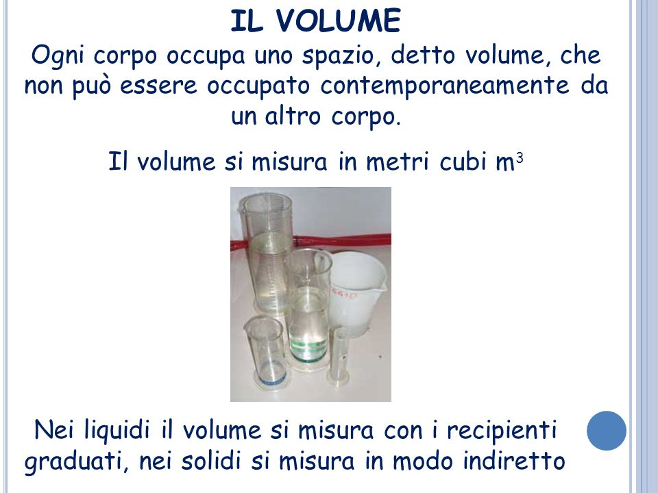 Il volume si misura in metri cubi m3