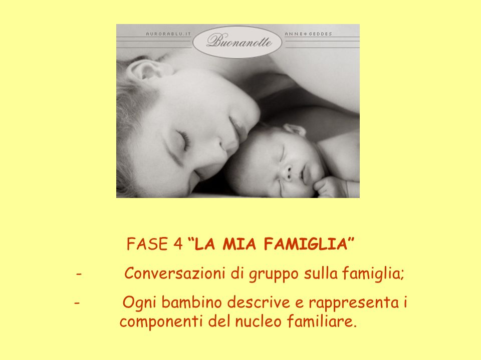 - Conversazioni di gruppo sulla famiglia;