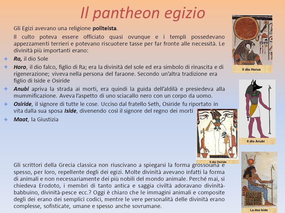 Il pantheon egizio Gli Egizi avevano una religione politeista.