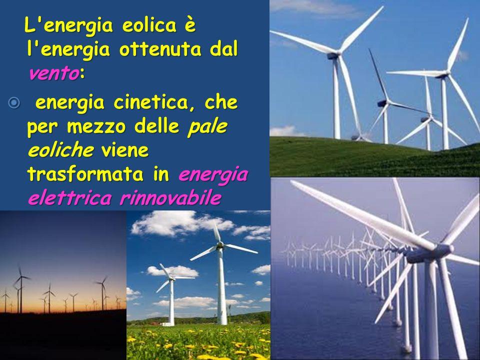 L energia eolica è l energia ottenuta dal vento: