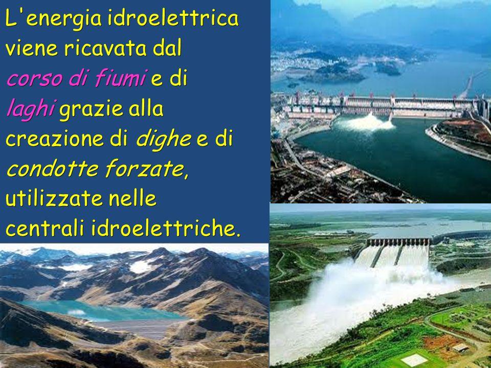 L energia idroelettrica viene ricavata dal corso di fiumi e di laghi grazie alla creazione di dighe e di condotte forzate, utilizzate nelle centrali idroelettriche.