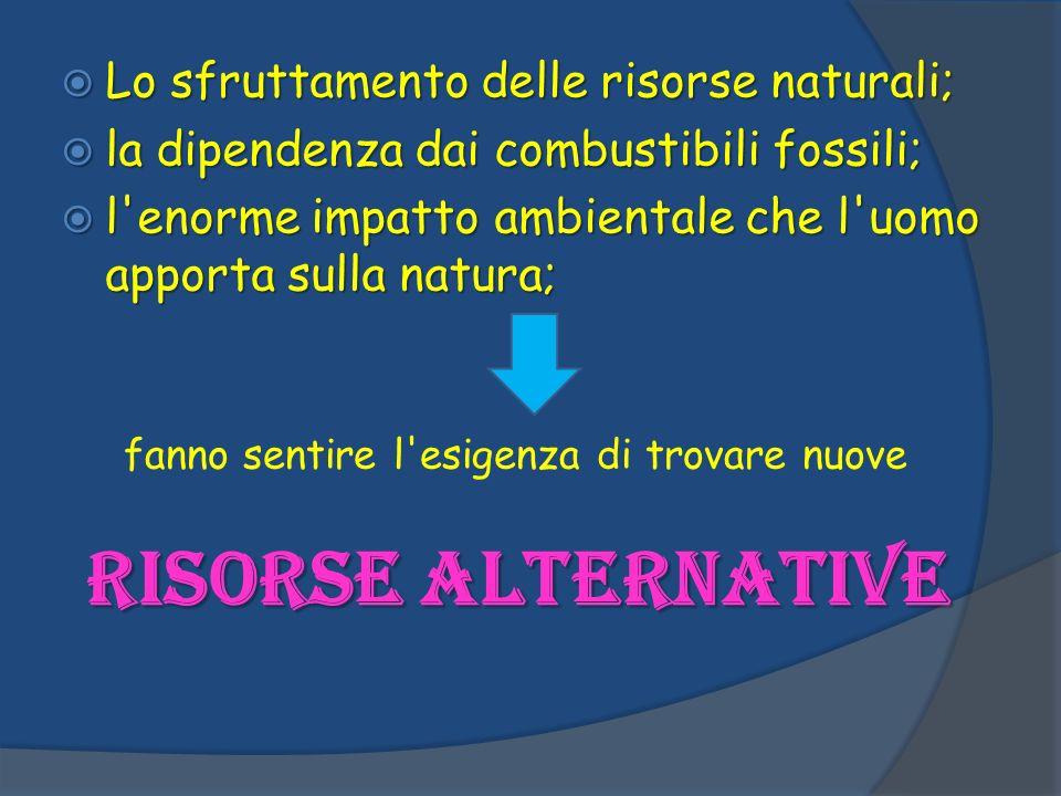 RISORSE ALTERNATIVE Lo sfruttamento delle risorse naturali;