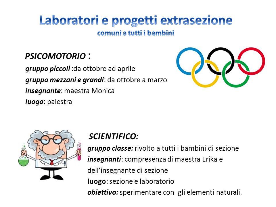 Laboratori e progetti extrasezione comuni a tutti i bambini