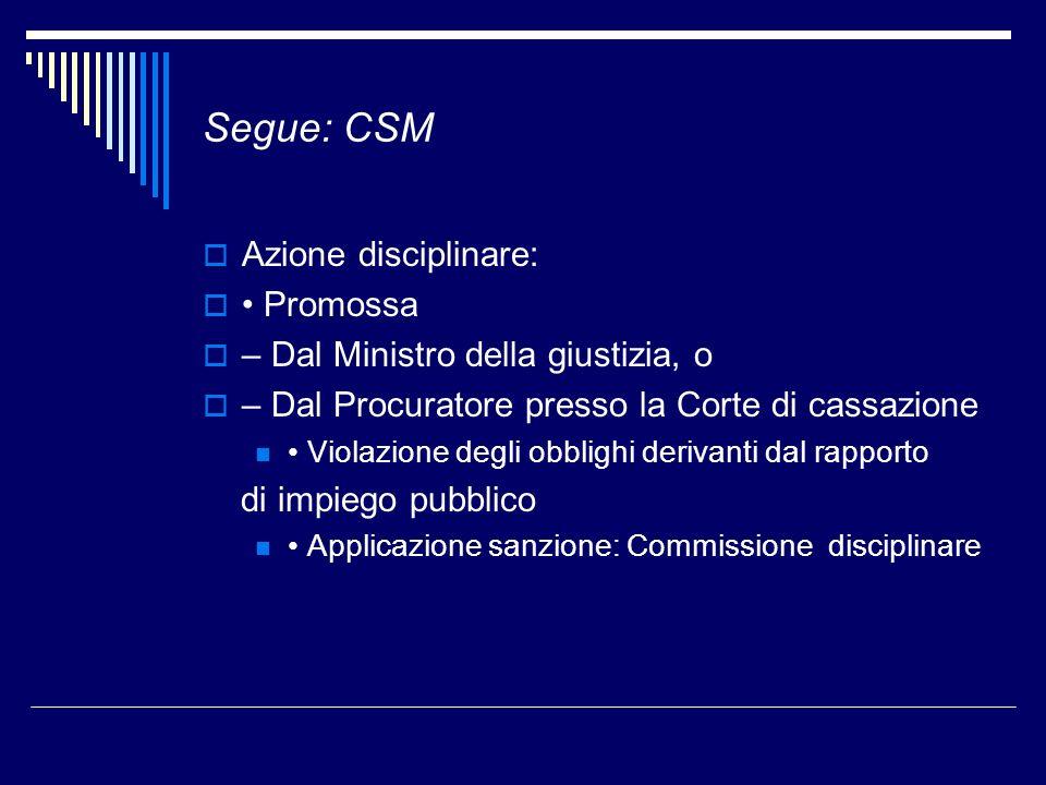 Segue: CSM Azione disciplinare: • Promossa