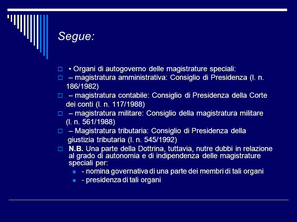 Segue: • Organi di autogoverno delle magistrature speciali: