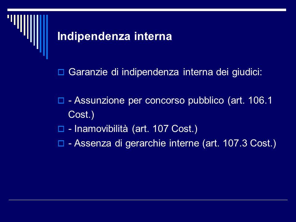 Indipendenza interna Garanzie di indipendenza interna dei giudici: