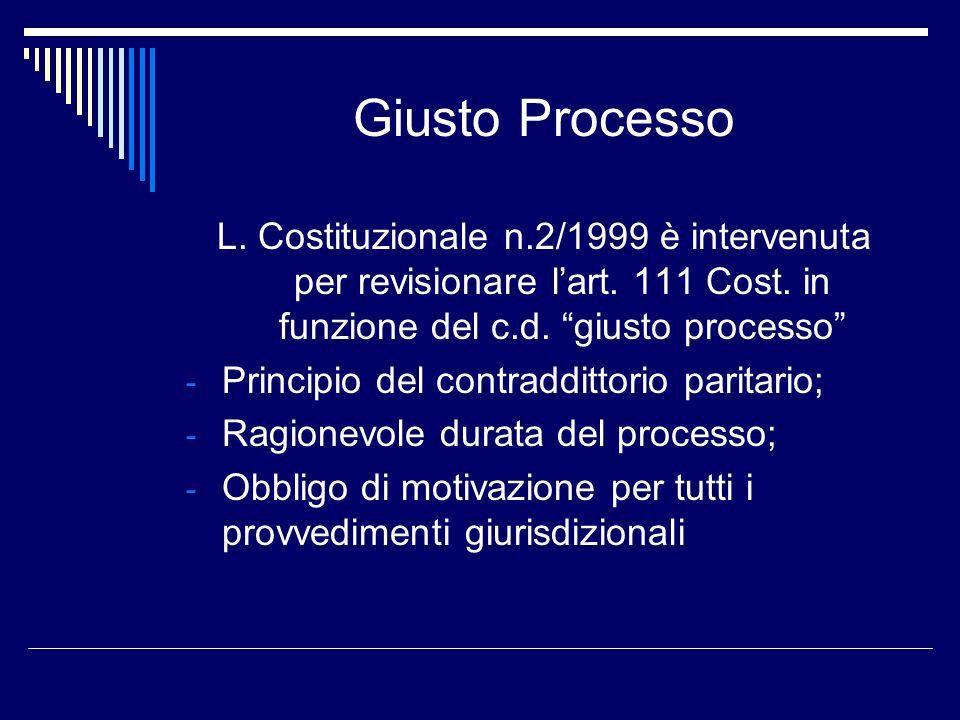 Giusto Processo L. Costituzionale n.2/1999 è intervenuta per revisionare l'art. 111 Cost. in funzione del c.d. giusto processo