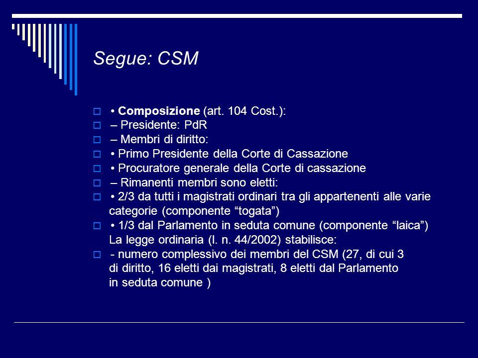 Segue: CSM • Composizione (art. 104 Cost.): – Presidente: PdR