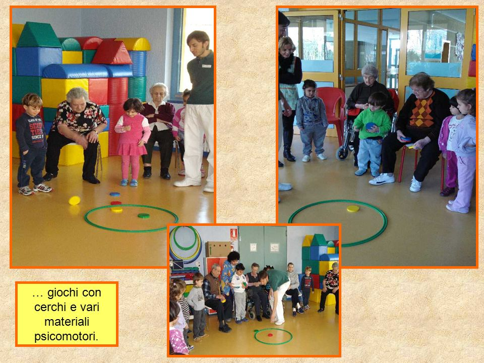 … giochi con cerchi e vari materiali psicomotori.