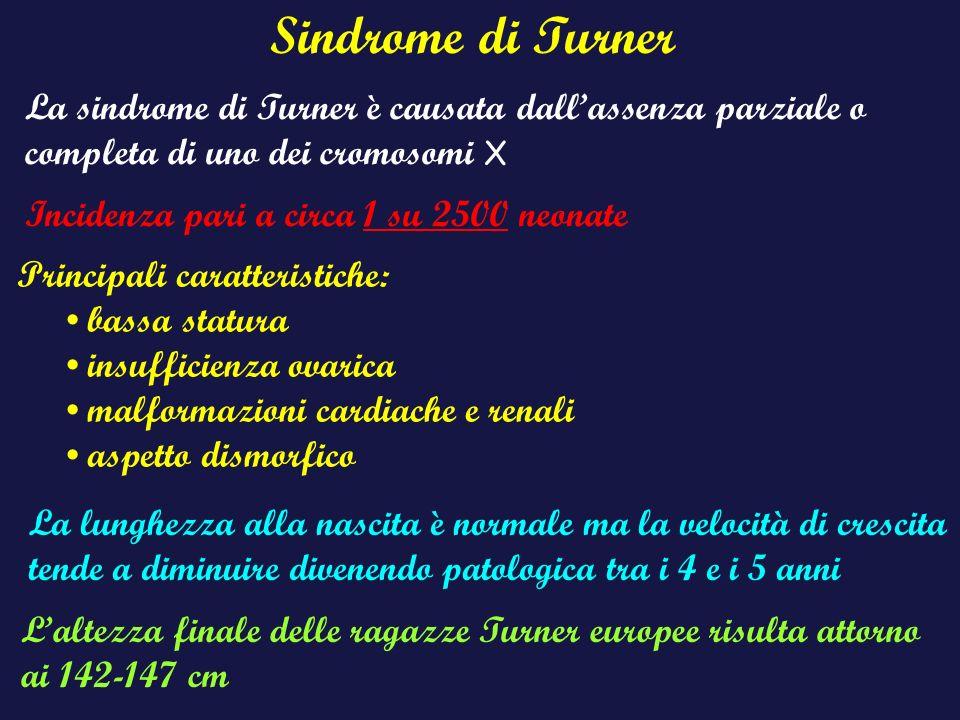 Sindrome di Turner La sindrome di Turner è causata dall'assenza parziale o completa di uno dei cromosomi X.
