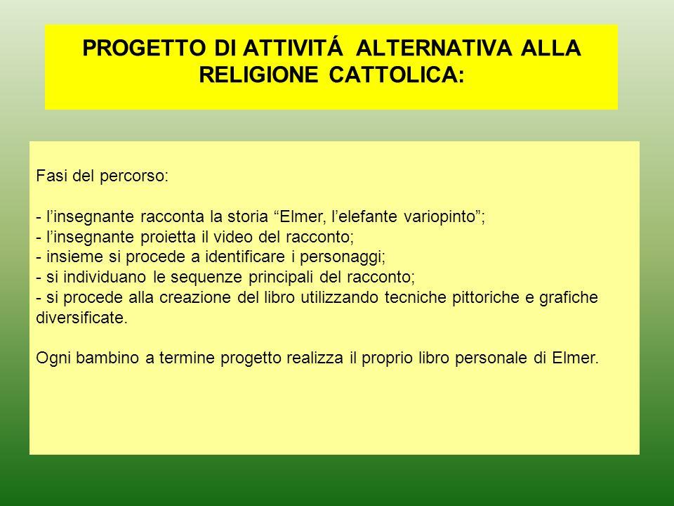 PROGETTO DI ATTIVITÁ ALTERNATIVA ALLA RELIGIONE CATTOLICA: