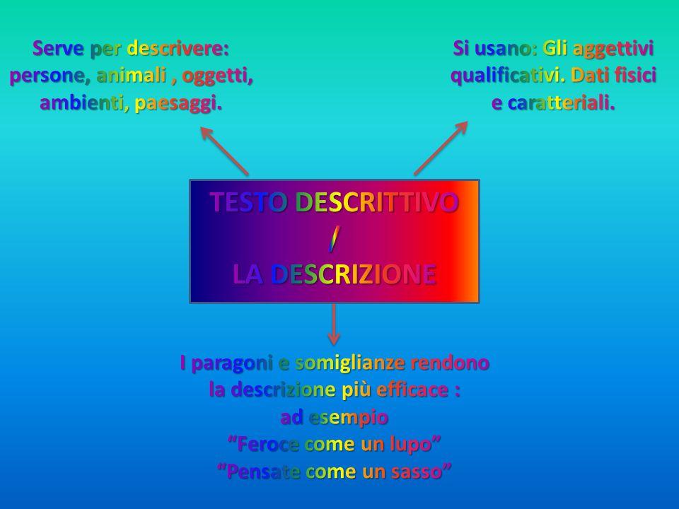TESTO DESCRITTIVO / LA DESCRIZIONE
