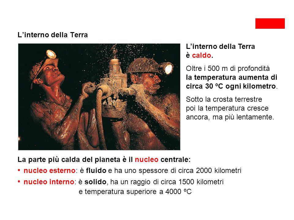 L'interno della Terra L'interno della Terra è caldo. Oltre i 500 m di profondità.