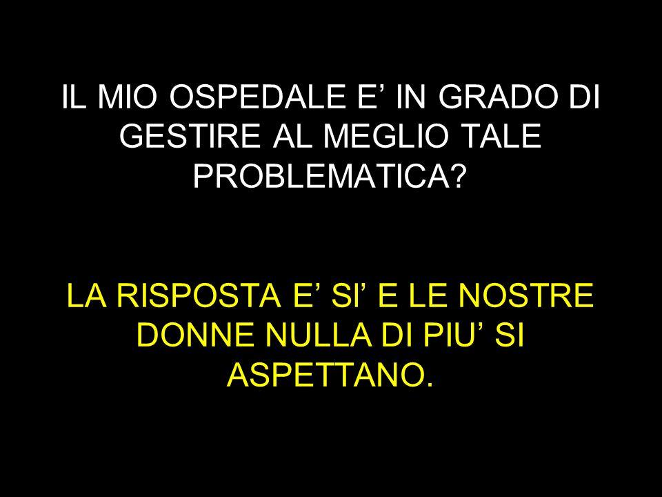 IL MIO OSPEDALE E' IN GRADO DI GESTIRE AL MEGLIO TALE PROBLEMATICA