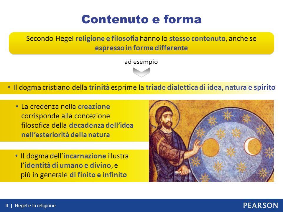 Contenuto e forma Secondo Hegel religione e filosofia hanno lo stesso contenuto, anche se espresso in forma differente.