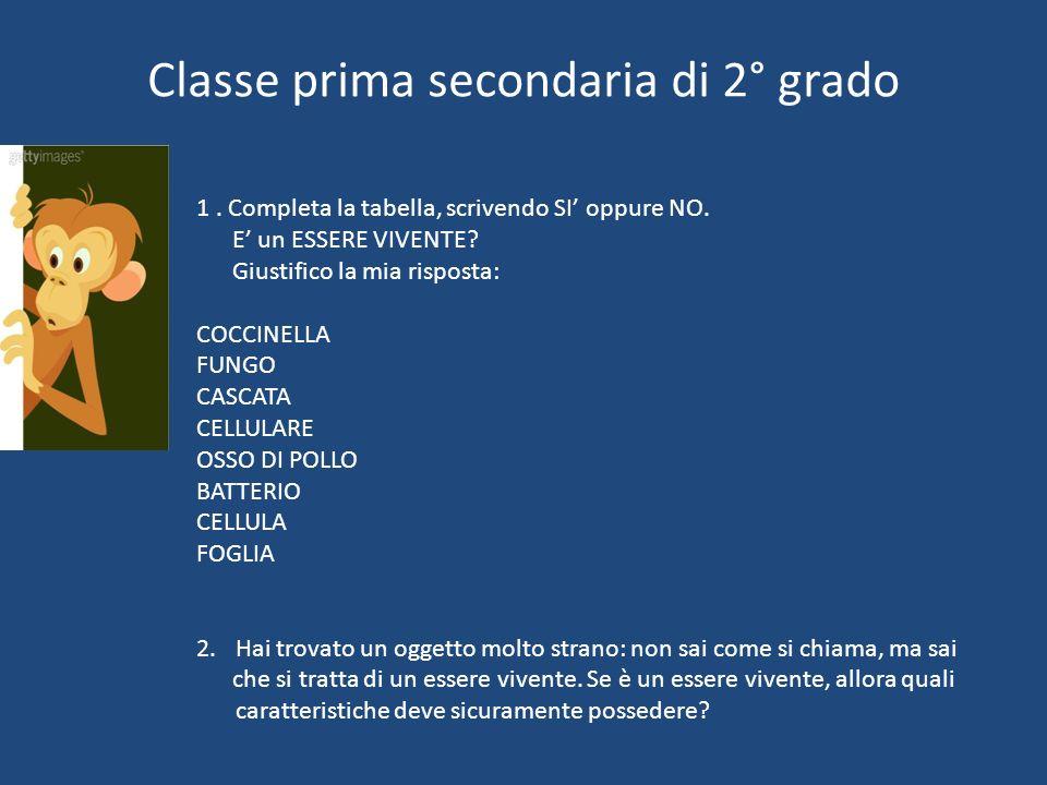 Classe prima secondaria di 2° grado
