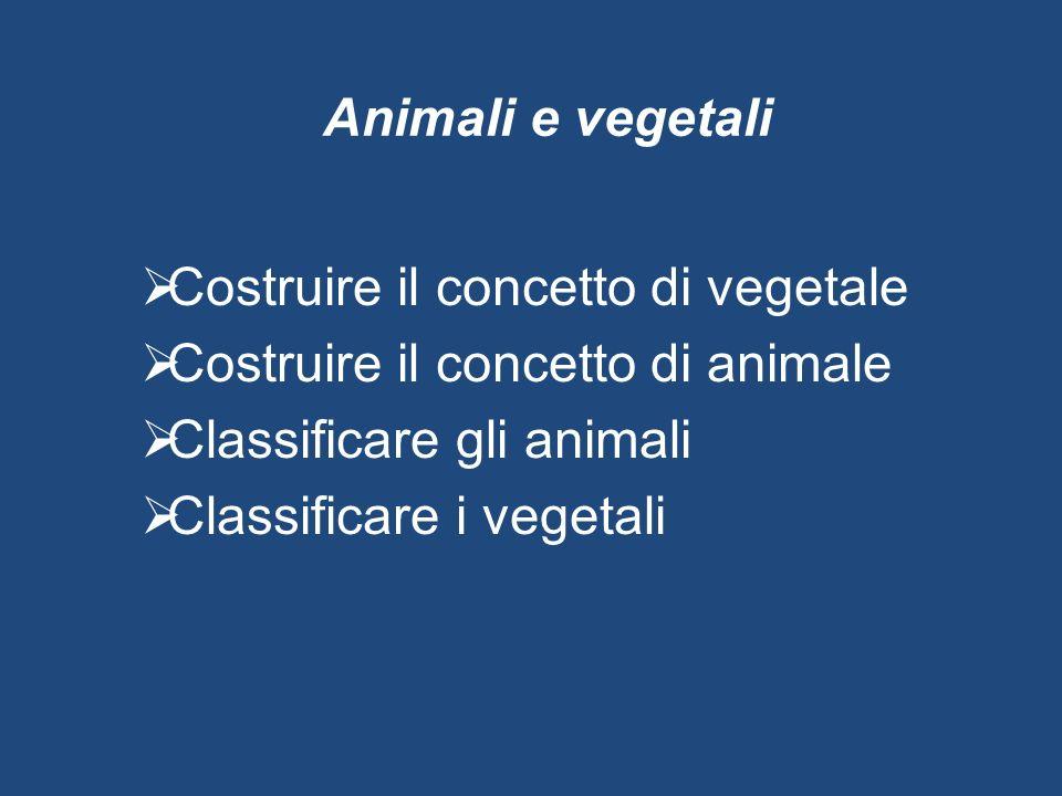 Animali e vegetali Costruire il concetto di vegetale. Costruire il concetto di animale. Classificare gli animali.