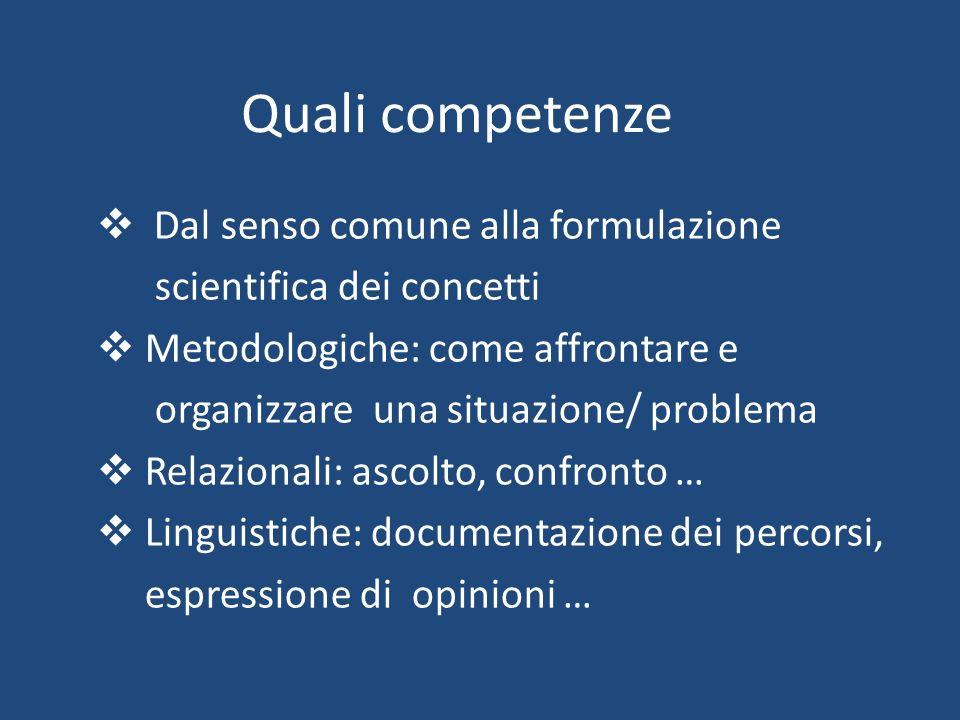 Quali competenze Dal senso comune alla formulazione