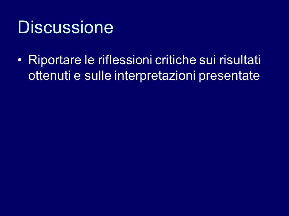 Discussione Riportare le riflessioni critiche sui risultati ottenuti e sulle interpretazioni presentate.