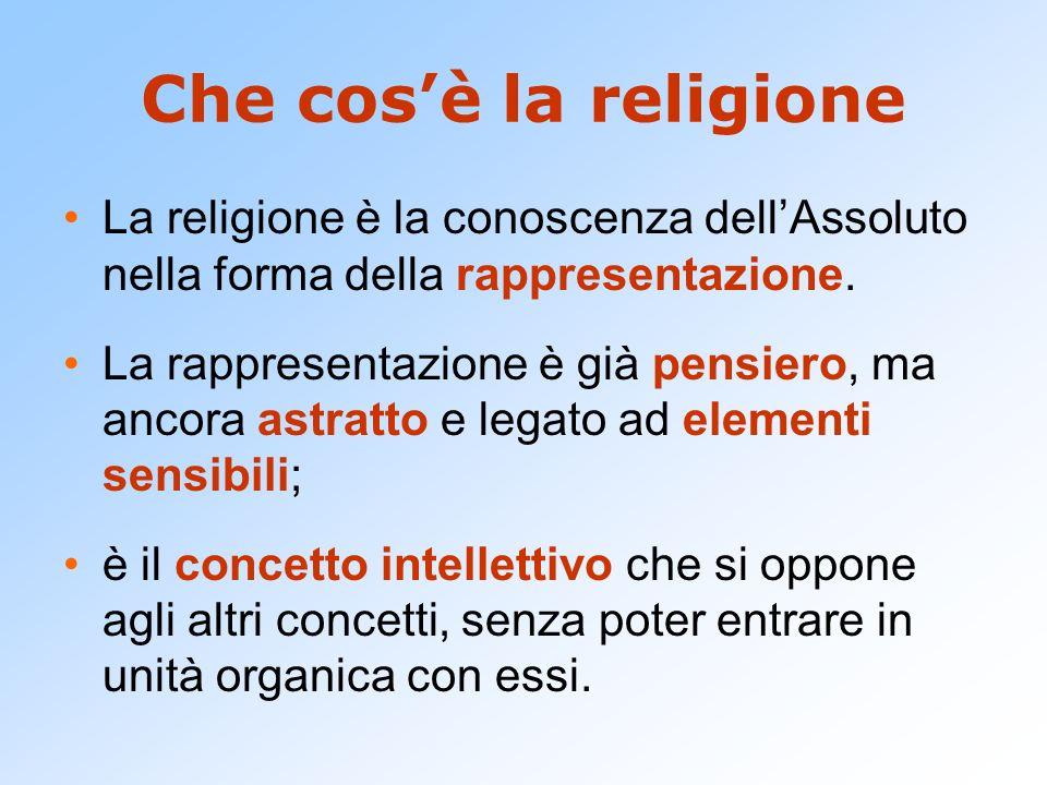 Che cos'è la religione La religione è la conoscenza dell'Assoluto nella forma della rappresentazione.