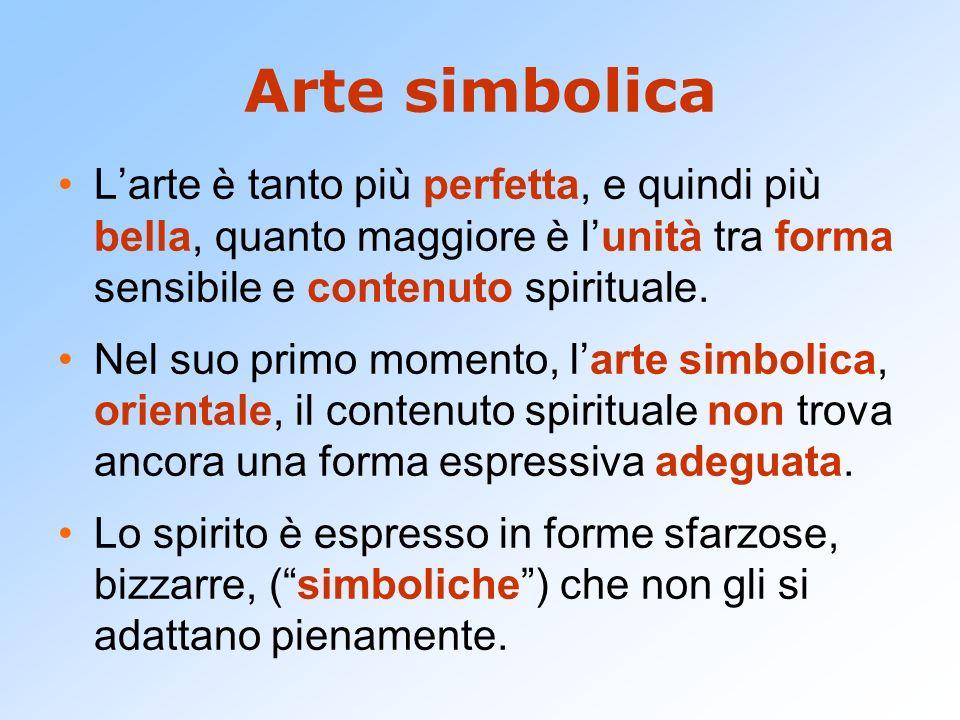 Arte simbolica L'arte è tanto più perfetta, e quindi più bella, quanto maggiore è l'unità tra forma sensibile e contenuto spirituale.