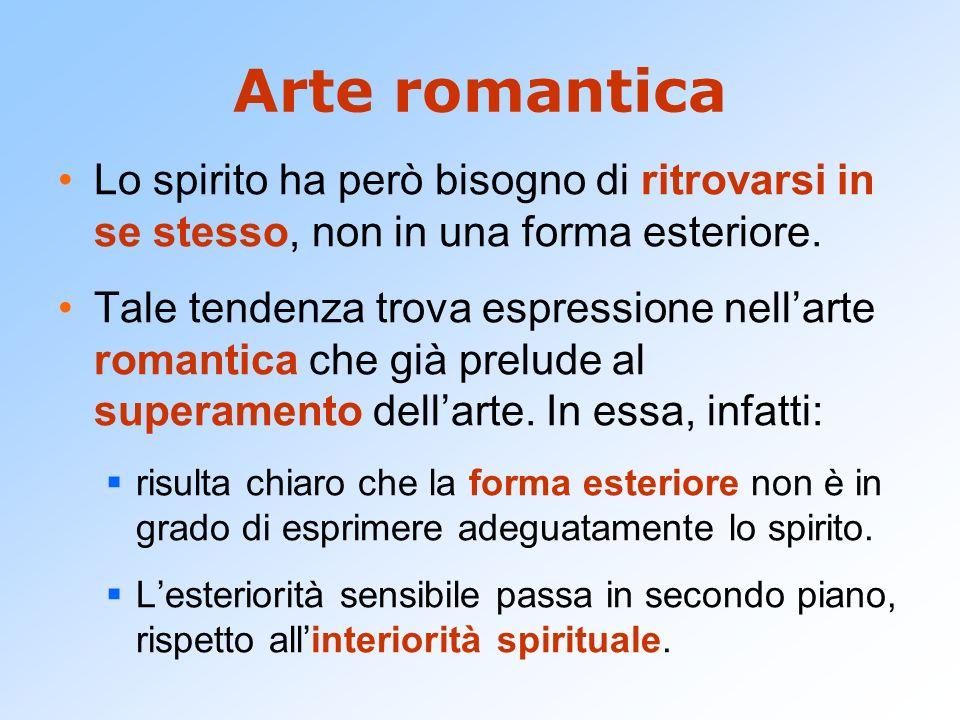 Arte romantica Lo spirito ha però bisogno di ritrovarsi in se stesso, non in una forma esteriore.