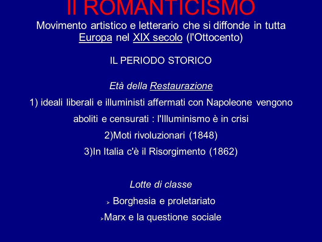Il ROMANTICISMO Movimento artistico e letterario che si diffonde in tutta Europa nel XIX secolo (l Ottocento)