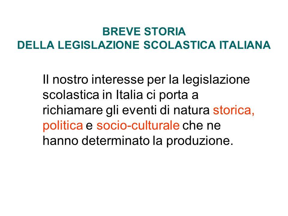 BREVE STORIA DELLA LEGISLAZIONE SCOLASTICA ITALIANA