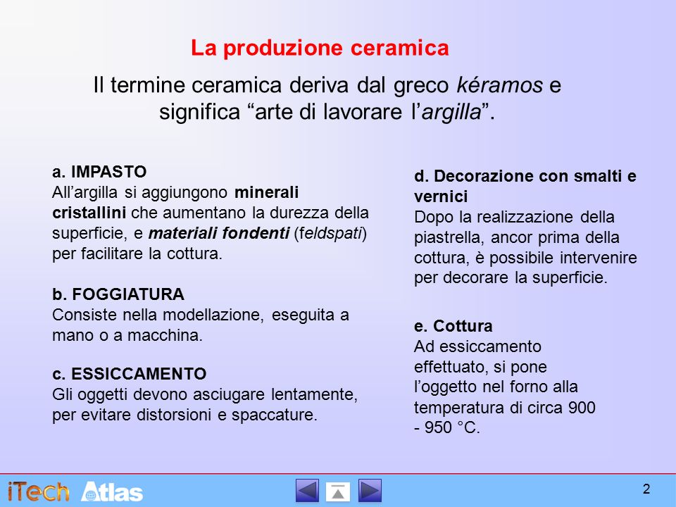 La produzione ceramica