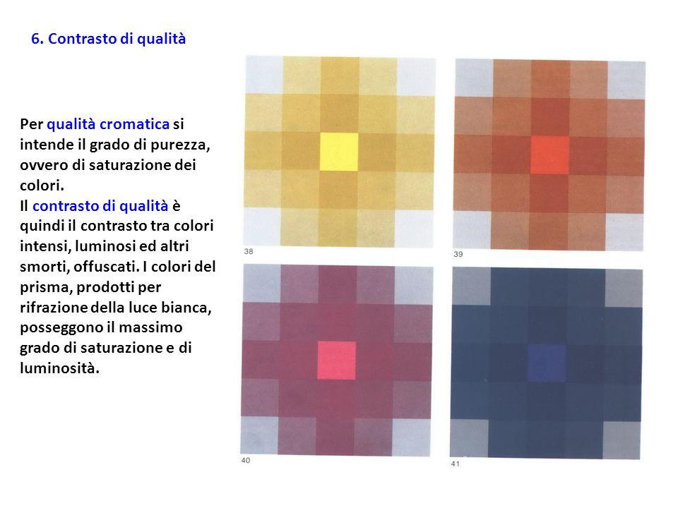 6. Contrasto di qualità Per qualità cromatica si intende il grado di purezza, ovvero di saturazione dei colori.
