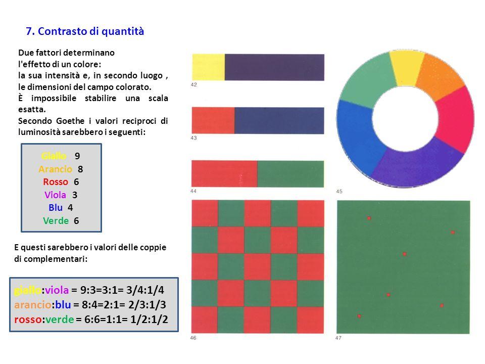 giallo:viola = 9:3=3:1= 3/4:1/4 arancio:blu = 8:4=2:1= 2/3:1/3