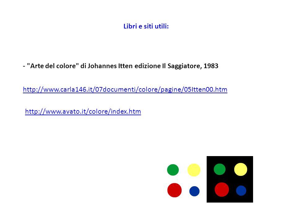 Libri e siti utili: - Arte del colore di Johannes Itten edizione Il Saggiatore, 1983.