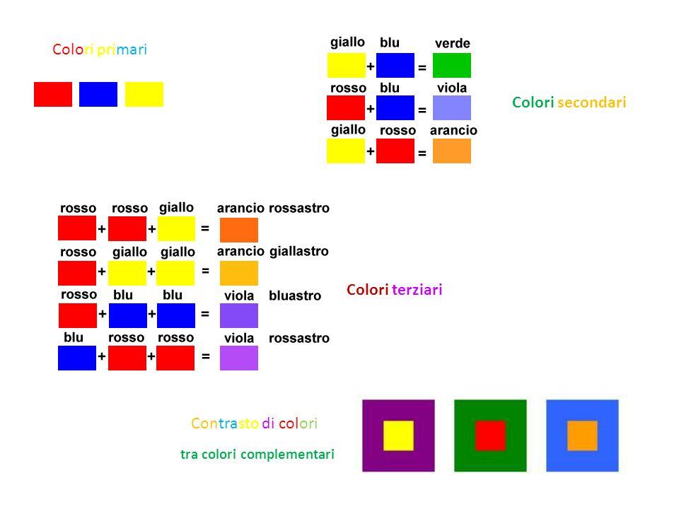 Colori primari Colori secondari Colori terziari Contrasto di colori