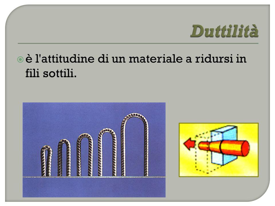 Duttilità è l attitudine di un materiale a ridursi in fili sottili.