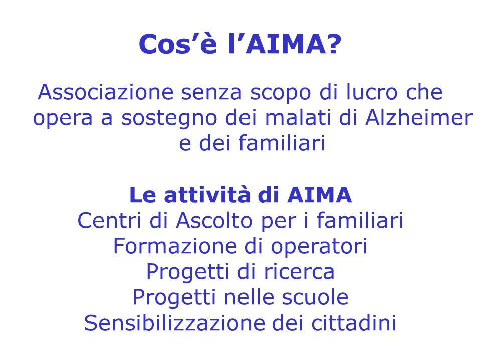 Cos'è l'AIMA Associazione senza scopo di lucro che opera a sostegno dei malati di Alzheimer e dei familiari.