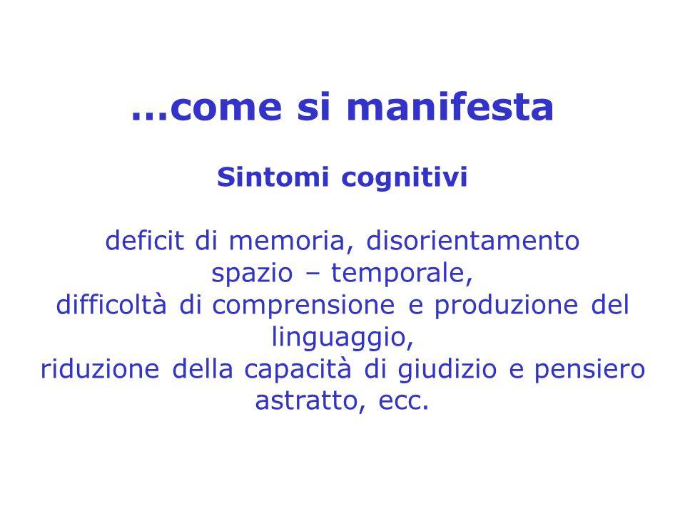 …come si manifesta Sintomi cognitivi