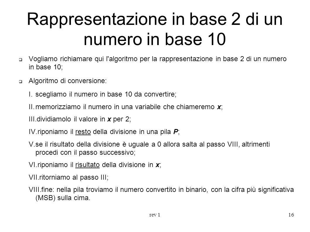 Rappresentazione in base 2 di un numero in base 10