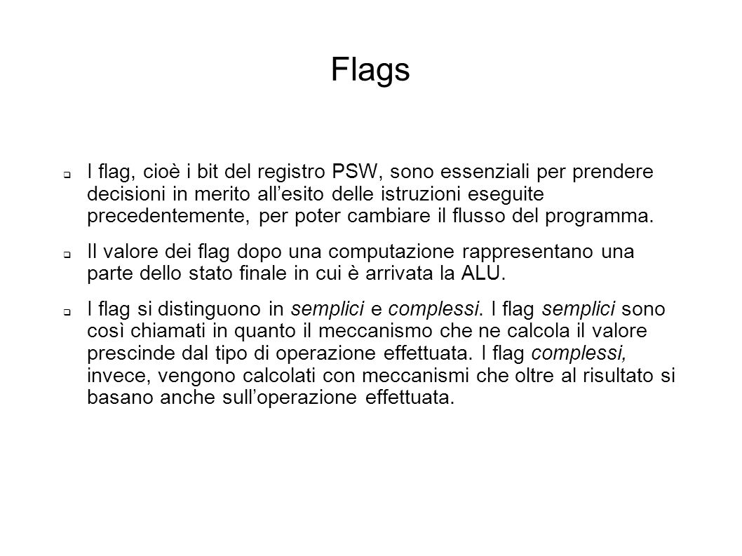 Flags I bit b22b21 codificano la categoria