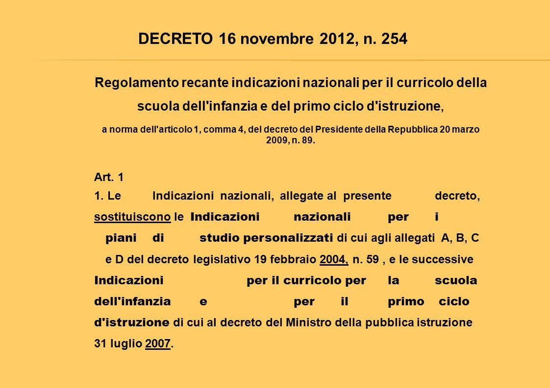 DECRETO 16 novembre 2012, n. 254