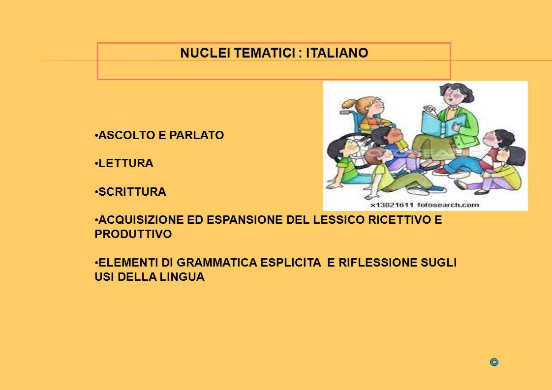 NUCLEI TEMATICI : ITALIANO