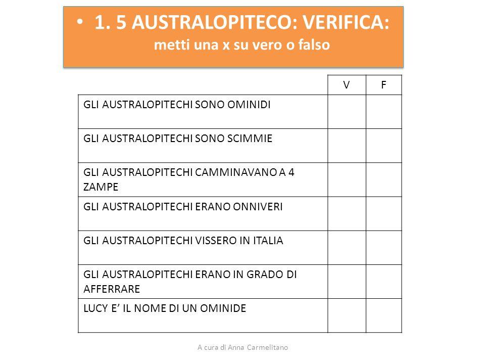 1. 5 AUSTRALOPITECO: VERIFICA: metti una x su vero o falso