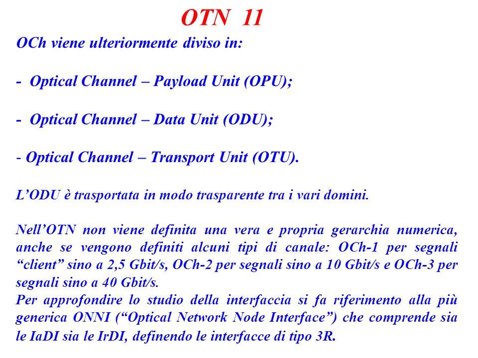 OTN 11 OCh viene ulteriormente diviso in: